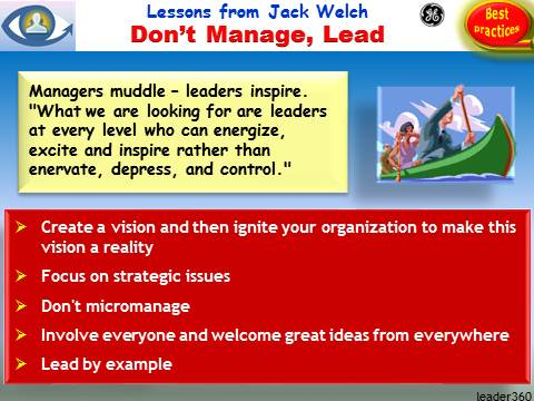 Leadership Lessons from Jack Welch: Don't Manage, Lead