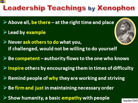 Xenophon Leassons for Leaders, Leadership Tips