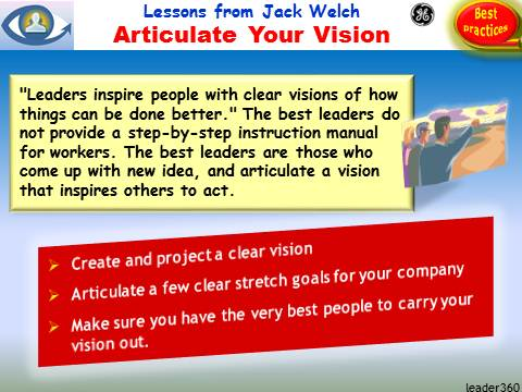 VISION, Visionary leader, Leadership Lessons from Jack Welch: Articulate Your Vision