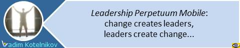 Change-Leadership Perpetuum Mobile Wheel: change creates leaders, leaders create change. Vadim Kotelnikov quotes